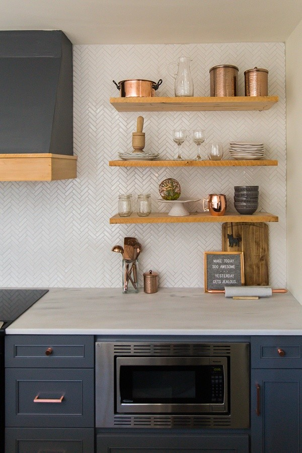 Alabama White Marble Countertops With Dark Blue Cabinets Midcentury Kitchen Birmingham By Surface One