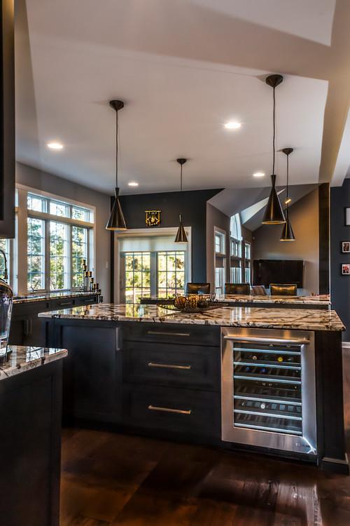 Ultra modern kitchen with white granite countertops