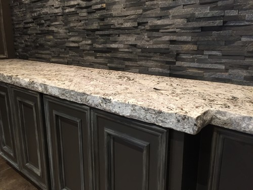 Modern kitchen with natural stone countertops