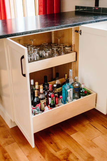 Alcohol Bottle Storage In Bar Cabinet Transitional Kitchen