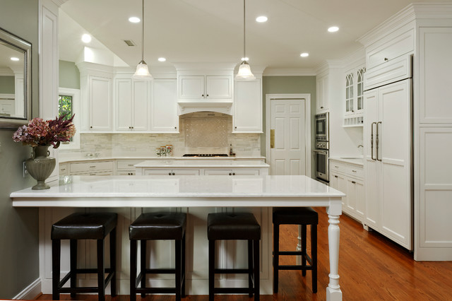 Kitchen Island Or Peninsula alexandria white kitchen with peninsula, island