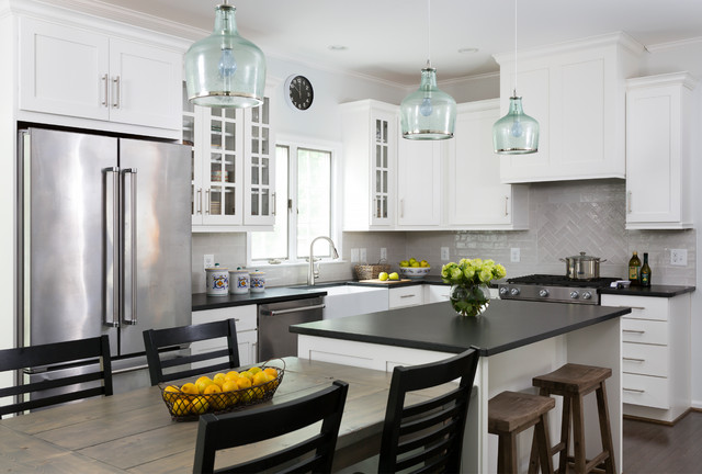 White Cabinets And Black Countertops