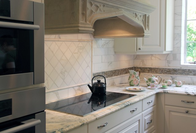 All-electric appliances and kitchen hood traditional-kitchen