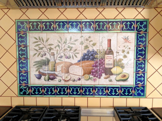 Allison S Lyman Cherub Wine And Cheese Hand Painted Tiles Kitchen Backsplash Traditional