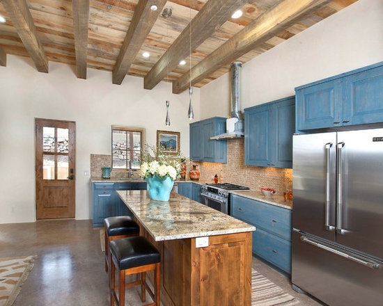 16 Rustic L shaped Kitchen Design Photos with Blue Cabinets