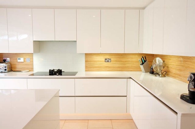 Almond wood kitchen splashback - Contemporary - Kitchen - London - by LWK Kitchens London