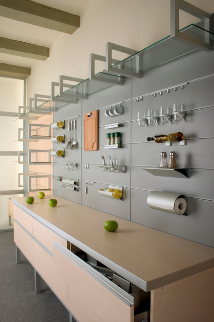 Aluminum Wall System With Accessories Contemporary Kitchen