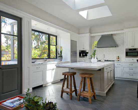 White Kitchen Tile Floor