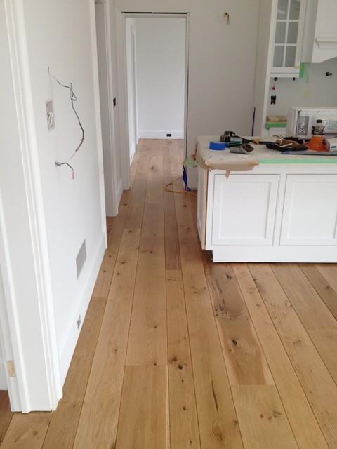 Amagansett Wide Plank White Oak Installed Finished Natural With Bona Traffic Transitional Kitchen