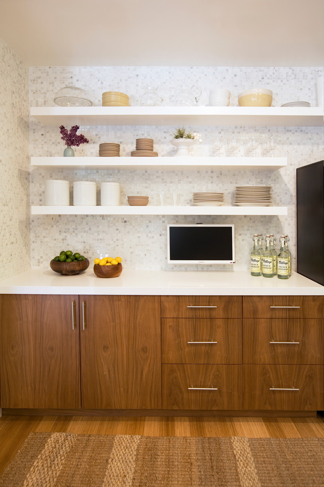 Trendy kitchen photo in San Francisco with mosaic tile backsplash, open cabinets and white cabinets