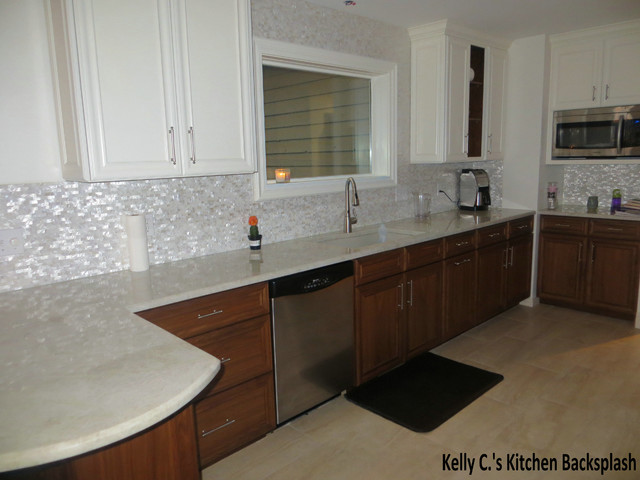 amazing backsplash with mother of pearl tile
