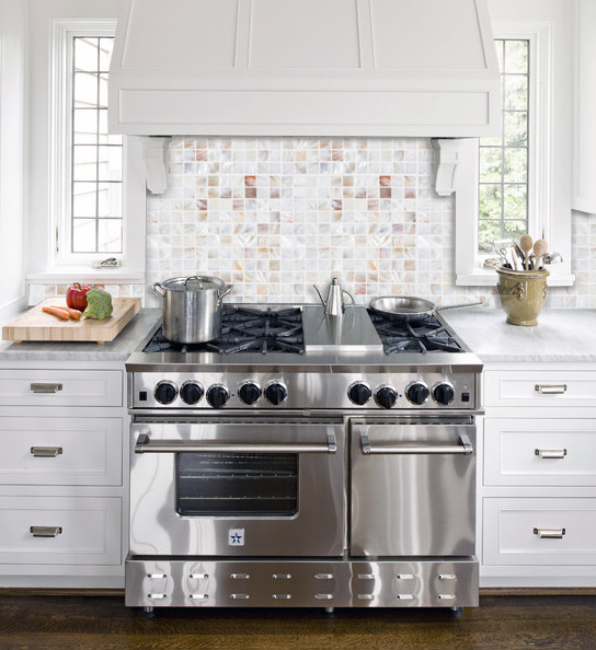 Amazing backsplash with Mother of pearl tile PEM0034 traditional-kitchen
