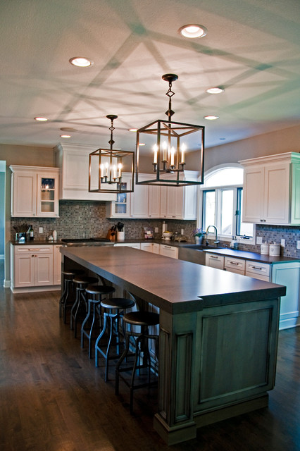 Amazon Grey Leather Countertops Traditional Kitchen