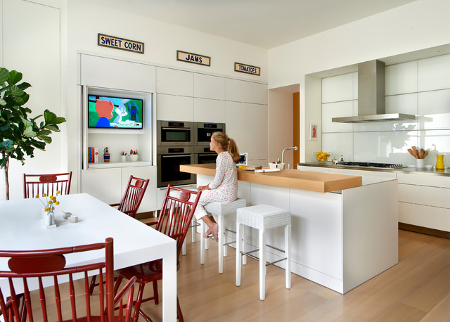 Ambassador residence contemporary kitchen chicago for Television in the kitchen ideas