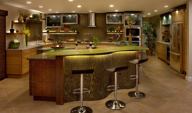 Amber Glass& Coconut Bamboo Kitchen - Eclectic - Kitchen - Tampa ...