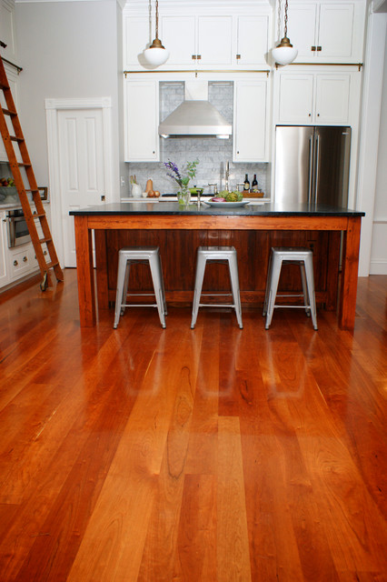 Cherry Hardwood Flooring this dark brazilian cherry hardwood floor has been refinished by rafal maleszyk at da vinci floors American Cherry Wood Floors Contemporary Kitchen