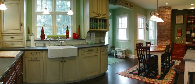 American Foursquare Design With Modern Upgrades Blended W/ 19th Century  Details Traditional Kitchen