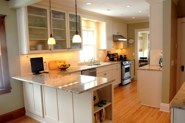 An open kitchen dining room design in a traditional home for Kitchen picture decor