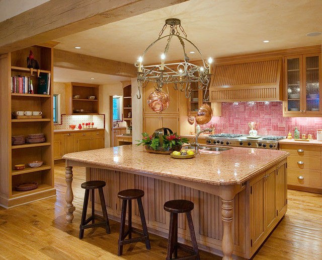 Andalusian custom home traditional kitchen santa for Building traditional kitchen cabinets by jim tolpin