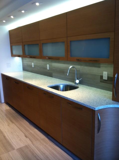 Anigre veneer kitchen contemporary kitchen miami for Anigre kitchen cabinets