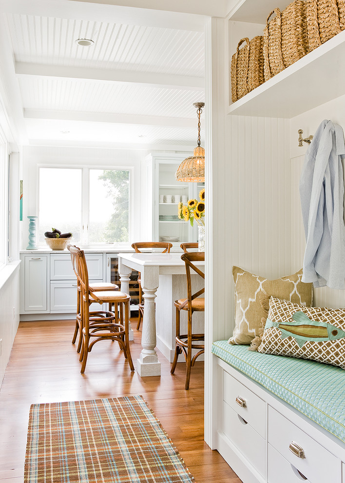 Kitchen - coastal kitchen idea in Boston with shaker cabinets and white cabinets