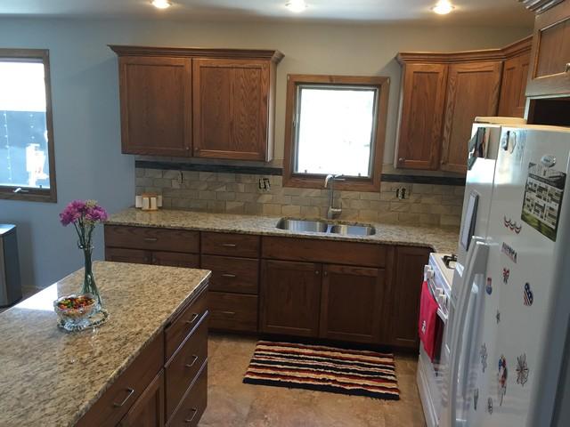 Antigo Kitchen Remodel Granite Tops Tile Back Splash