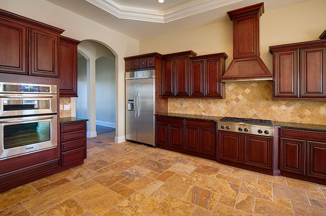 Antique Gold Travertine Tiles Modern Kitchen Tampa