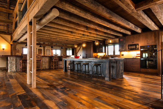 Antique Historic Plank Flooring Barn Loft Rustic Kitchen