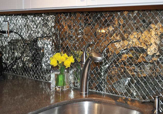 Antique Mirror Kitchen Backsplash Transitional
