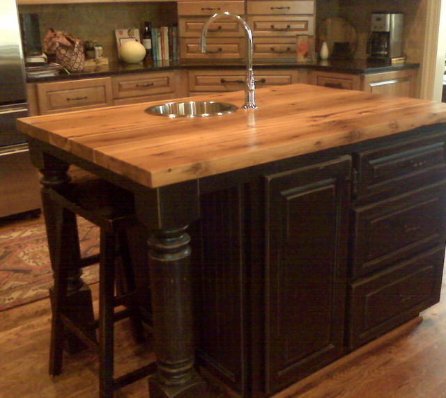 Black Distressed Oak Kitchen Island