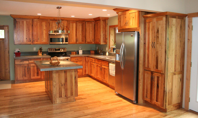 Antique Reclaimed Chestnut kitchen cabinets - Traditional - Kitchen - Other - by K.D. Woods Company