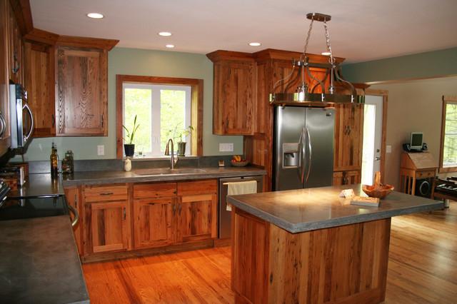 Antique reclaimed chestnut kitchen cabinets traditional for Chestnut kitchen cabinets