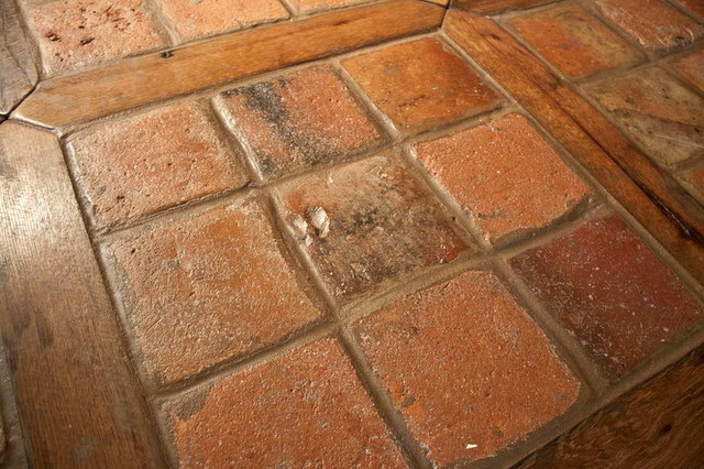 Antique Reclaimed French Terracotta Oak Floor Inlay mediterranean kitchen