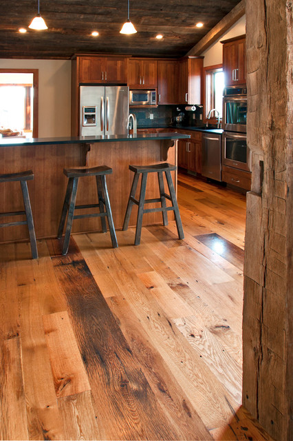 Antique Resawn Oak Hardwood Flooring rustic-kitchen