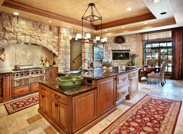 Antique Tuscan Wall Cladding Mediterranean Kitchen