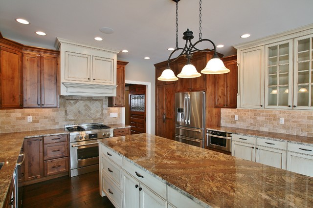 Antique White amp Stained Cabinets : rustic kitchen from www.houzz.com size 640 x 426 jpeg 78kB