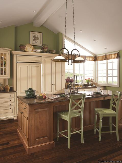 Antique White Built-in Refrigerator & Espresso Glaze Kitchen ...