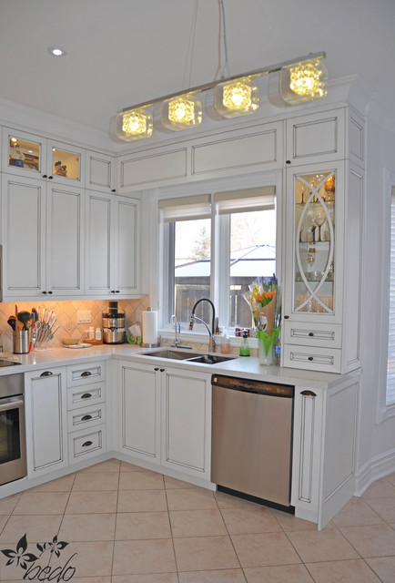 Antique white glazed kitchen cabinets traditional kitchen toronto by bedo design inc for Antique glazed kitchen cabinets pictures