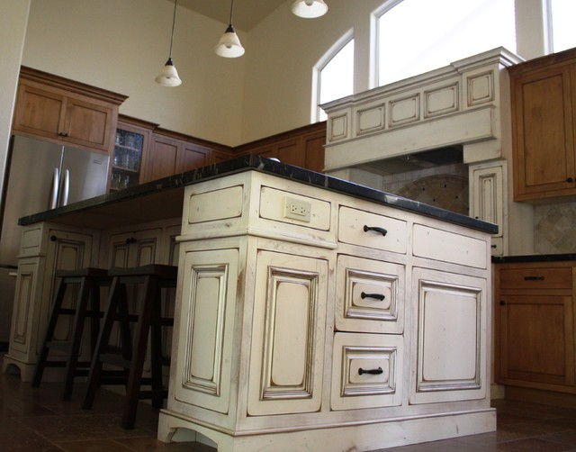 Antique white island traditional kitchen phoenix for Antique kitchen island