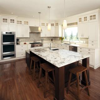 antique white transitional style kitchen modern custom wood furniture calgary custom corner bookshelf