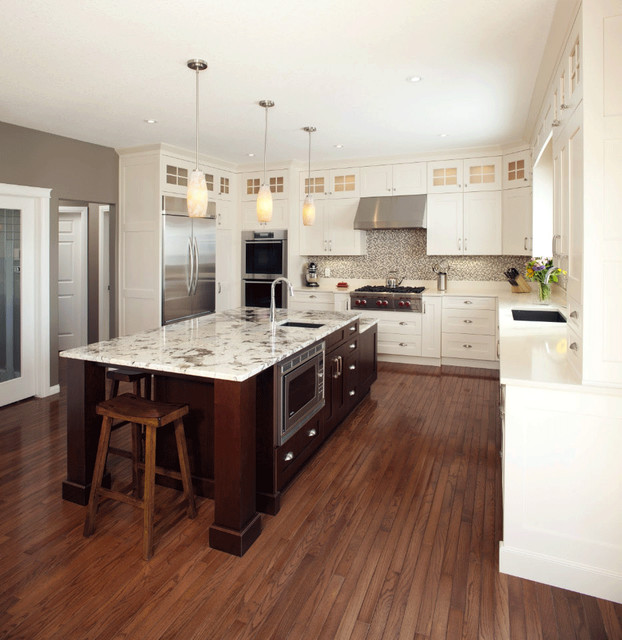 Antique White Transitional Style Kitchen - Modern - Kitchen - calgary - by Michael Burr Design