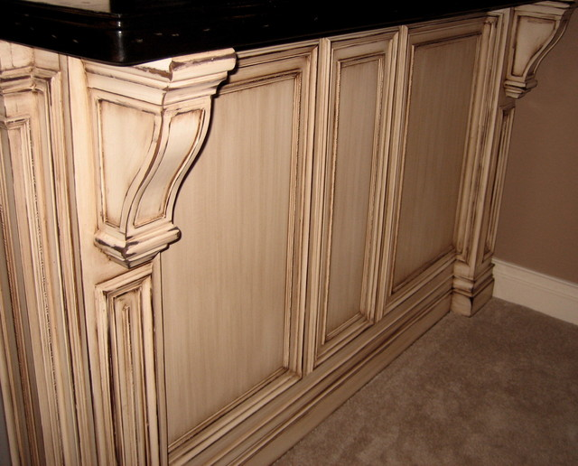 Antiqued distressed glazed cabinetry traditional for Antique glazed kitchen cabinets