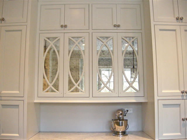 Antiqued Mirror Kitchen Cabinets Contemporary Kitchen