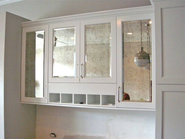 Antiqued Mirror Kitchen Cabinets - Contemporary - Kitchen ...