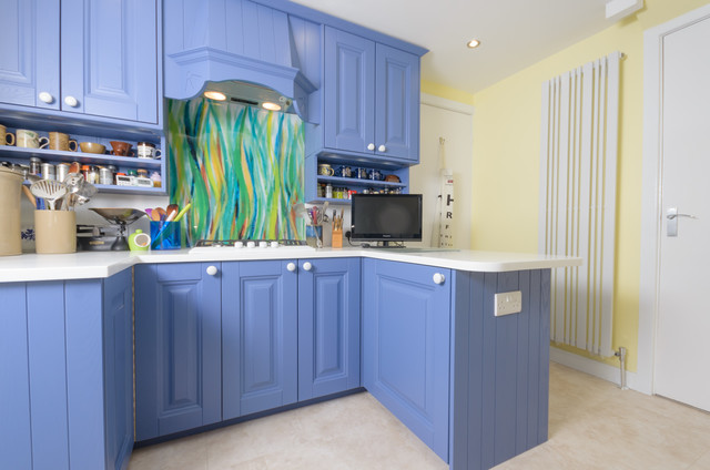 Antrim painted in farrow and ball pitch blue eclectic kitchen