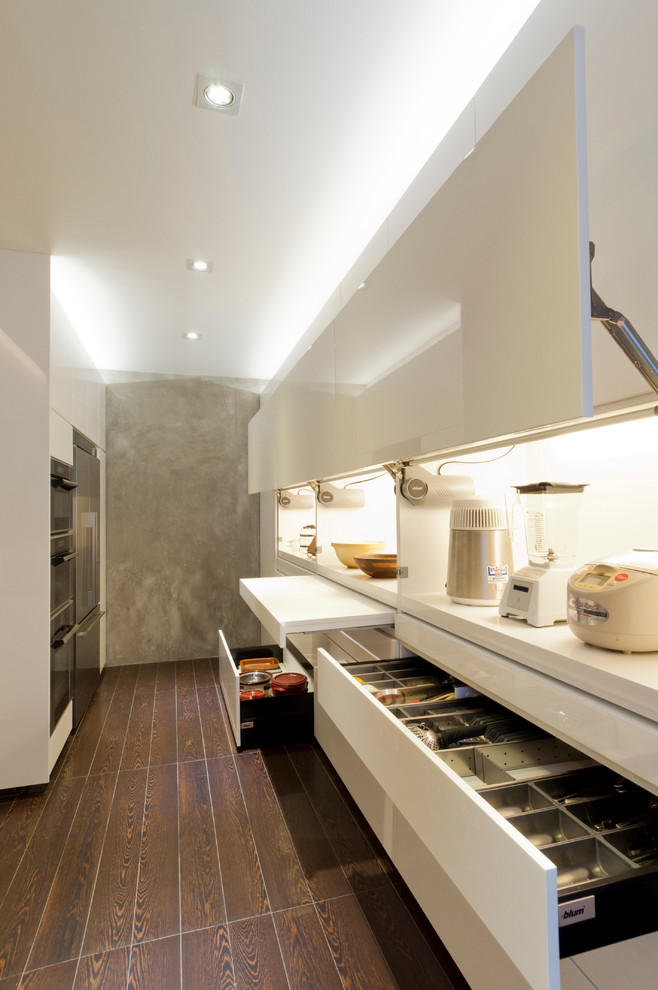 Trendy galley kitchen photo in Singapore with flat-panel cabinets and white cabinets