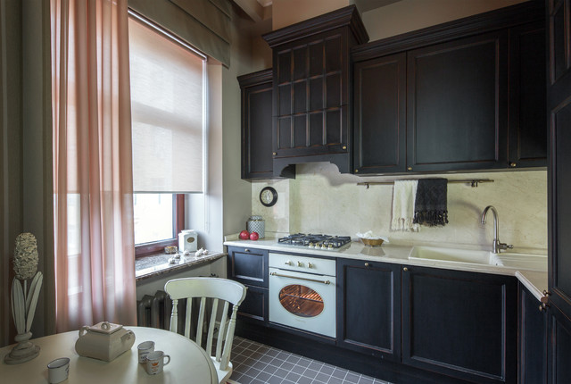 Inspiration for a timeless l-shaped gray floor eat-in kitchen remodel in Moscow with black cabinets, white backsplash, white appliances, no island, a drop-in sink and recessed-panel cabinets