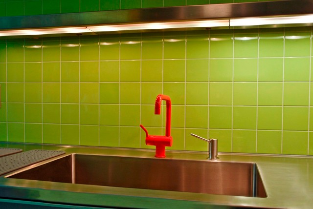 Apple Green Kitchen Backsplash - Eclectic - Kitchen - New York - by Virtue Tile