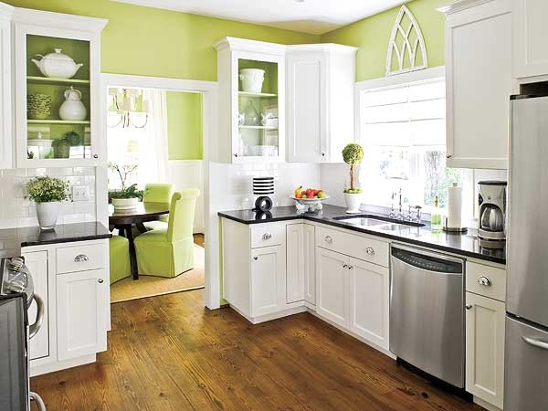 Amazing Apple Green Kitchen Walls Contemporary Kitchen
