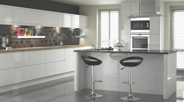 Appleby White Gloss Kitchen Contemporary Kitchen Other Metro By B Q